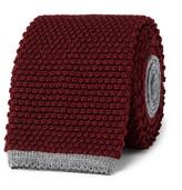 Canali 6.5cm Honeycomb-knit Wool Tie - Burgundy
