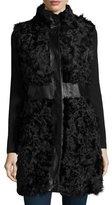 Pologeorgis Kalgan Lamb Leather-Trim Vest, Black