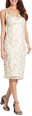 Adrianna Papell Embroidered Sleeveless Sheath Dress