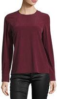 AG Jeans Long-Sleeve Silk Blouse, Wine