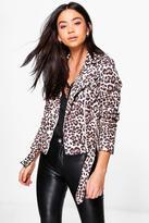 Boohoo Emily Leopard Print Biker Jacket