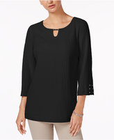 JM Collection Textured Keyhole Tunic, Created for Macy's