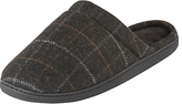 Totes Woven Checked Mule Slippers, Charcoal