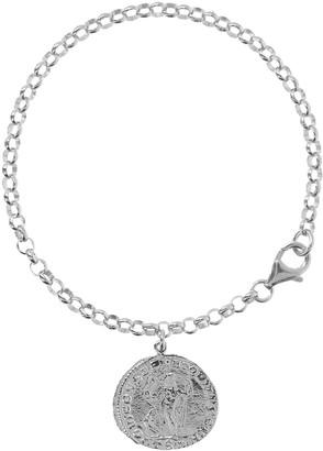 "Italian Silver 8"" Coin Charm Bracelet"