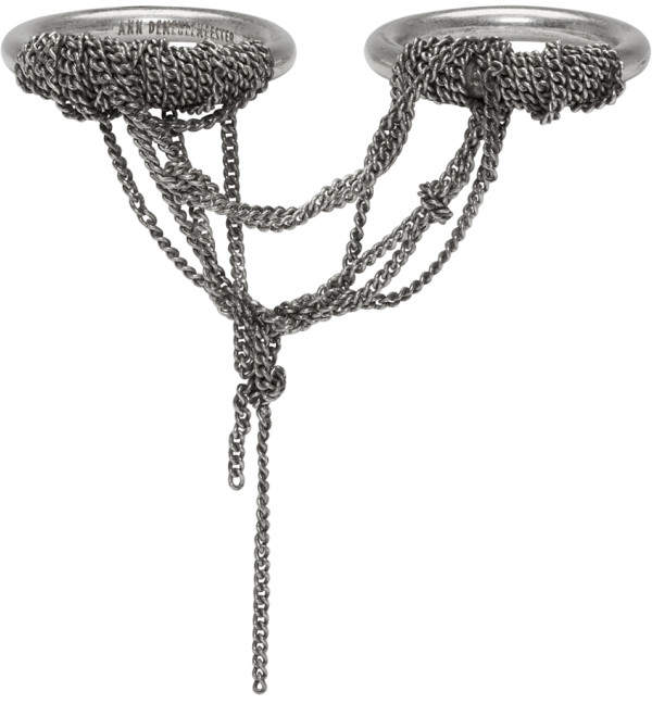 Ann Demeulemeester Silver Double Chain Ring
