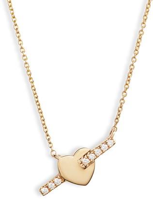 Dana Rebecca Designs Livi Gold Heart Bar Diamond Necklace