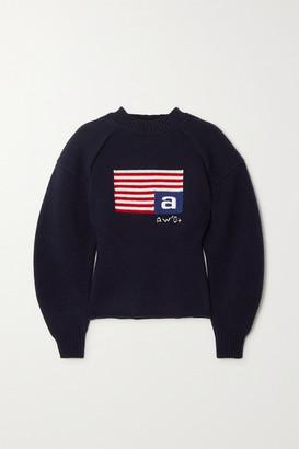 Alexander Wang Intarsia Wool-blend Sweater - Navy