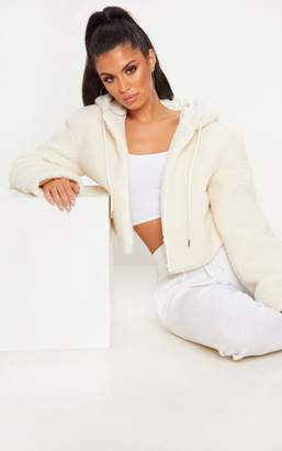 PrettyLittleThing Cream Borg Zip Through Hoodie