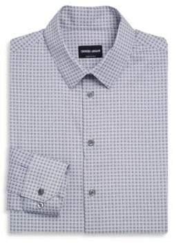 Giorgio Armani White& Blue Square Micro Plaid Shirt