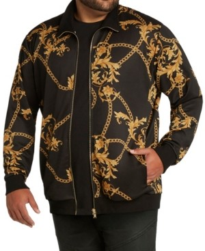 Mvp Collections By Mo Vaughn Productions Mvp Collections Men's Big & Tall Chain Print Bomber Jacket