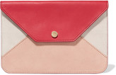 Maje Paneled textured-leather and suede clutch