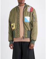 J.W.Anderson Crochet-patch satin bomber jacket