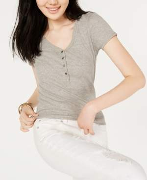 Ultra Flirt Juniors' Ribbed-Knit Henley Top