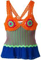 Moschino crochet panelled top - women - Cotton - 42
