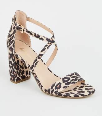 New Look Suedette Leopard Print Block Heels