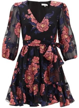 Borgo de Nor Anita Floral-brocade Silk Mini Dress - Black Pink