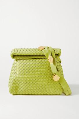 Bottega Veneta The Fold Small Embellished Intrecciato Leather Shoulder Bag - Green