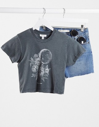 Topshop moon and flowers t-shirt in charcoal