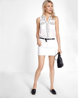 Express Slim Fit Piped Sleeveless Portofino Shirt