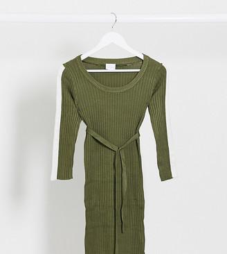 Mama Licious Mamalicious stripe sleeve sweater dress in khaki