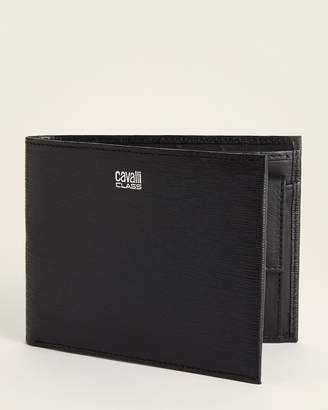 Class Roberto Cavalli Textured Leather Bifold Wallet With Coin Pocket