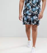 Asos PLUS Slim Shorts In Black With Hawaiian Print