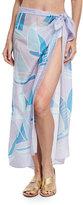 Anna Coroneo Sailboat-Print Silk Square Scarf, Lilac