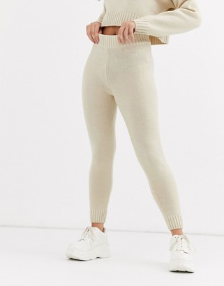 Asos Design DESIGN co-ord knitted joggers-Stone