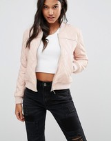 Boohoo Quilted Leather Look Bomber Jacket
