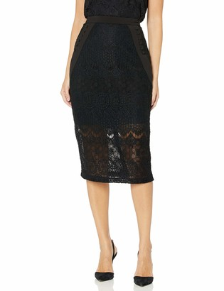 BCBGMAXAZRIA Women's Ornate Floral Lace Pencil Skirt