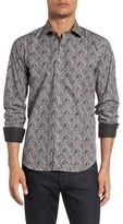 Bugatchi Shaped Fit Paisley Print Sport Shirt