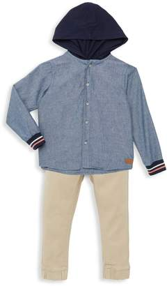 7 For All Mankind Little Boy's 2-Piece Chambray Hooded Top & Pants Set