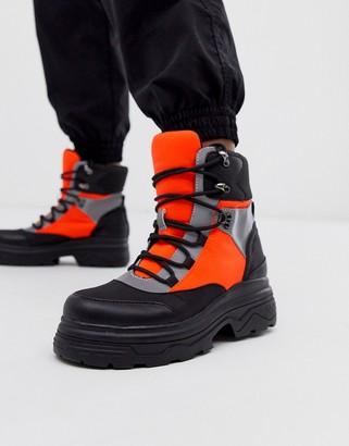 Asos Design DESIGN Advantage sporty flat lace up boot in neon-Multi