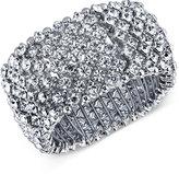 2028 Silver-Tone Wide Pavé Stretch Bracelet