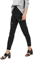 Topshop Women's Moto Mom Studded Super Ripped Jeans