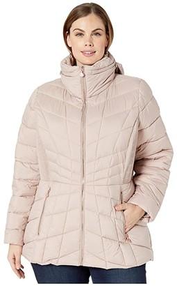 Bernardo Fashions Plus Size EcoPlume Packable Puffer Jacket (Black) Women's Jacket