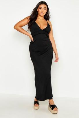 boohoo Plus V Neck Ruffle Maxi Dress