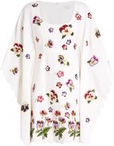 Andrew Gn Floral-appliqué kimono-sleeve crepe dress