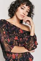 Forever 21 Floral Off-the-Shoulder Chiffon Flounce Top