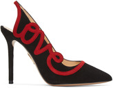 Charlotte Olympia Black Suede 'Love' Heels