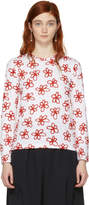 Comme des Garcons White and Red Flower T-Shirt