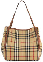 Burberry Canterbury Small Horseferry Check Tote Bag, Honey/Tan