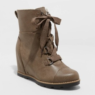 Women's Katherine Lace up Wedge Fashion Boots - Universal ThreadTM