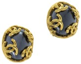 Chanel 95A Blue CC Logo Earrings