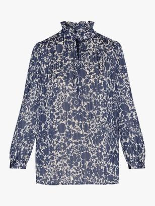 Gerard Darel Nicole Floral Print Ruffle Neck Blouse, Blue
