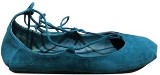 Prada Turquoise Suede Ballet flats