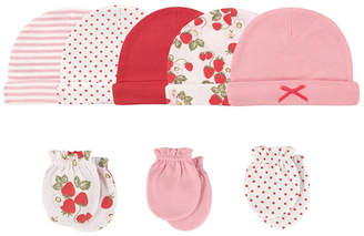 Baby Vision Hudson Baby Cap and Scratch Mittens, 8-Piece Set, Strawberries, 0-6 Months