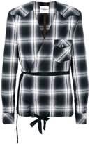 Takahiromiyashita The Soloist collarless checkered print wrap shirt