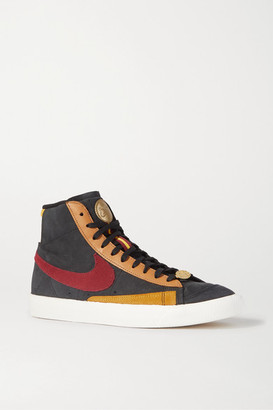 Nike Blazer Mid '77 Qs Color-block Suede And Leather Sneakers - Burgundy