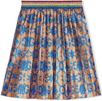 Gucci Kids children's GG bees and stars jacquard skirt